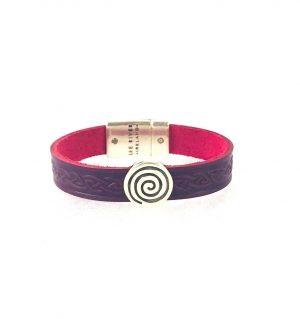 Spiral Purple Celtic Cuff Leather Bracelet