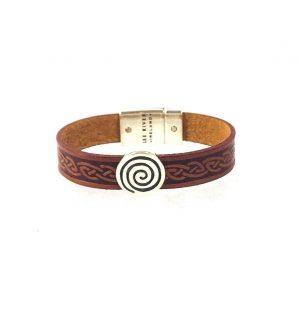 Spiral Brown Celtic Cuff Leather Bracelet
