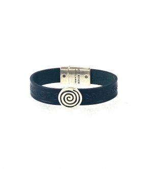 Spiral Navy Celtic Cuff Leather Bracelet
