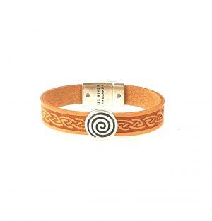 Spiral Tan Celtic Cuff Leather Bracelet