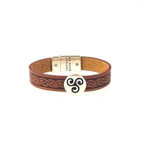 Triskel Brown Celtic Cuff Leather Bracelet