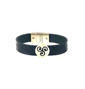 Triskel Black Celtic Cuff Leather Bracelet