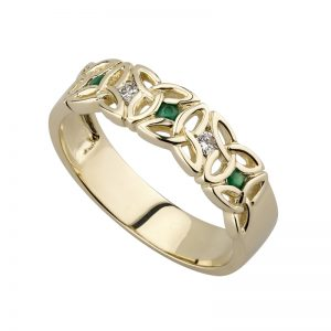 Solvar 9k Gold Diamond Emerald Trinity Ring s2630