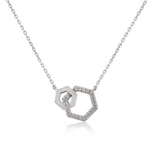 Waterford Crystal Silver Hexagon Pendant