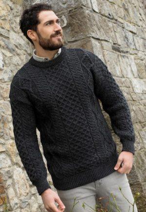 Inis Mor Aran Crew Neck Charcoal Sweater