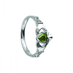 May Emerald Birthstone Claddagh Ring