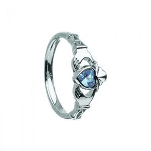 March-Aquamarine Birthstone Claddagh Ring