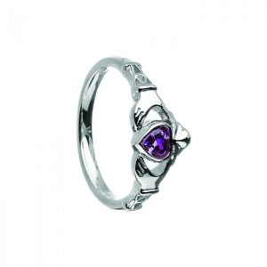 February-Amethyst Birthstone Claddagh Ring