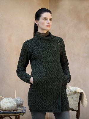 Women's Green Cable Knit Side Zip Aran Coat