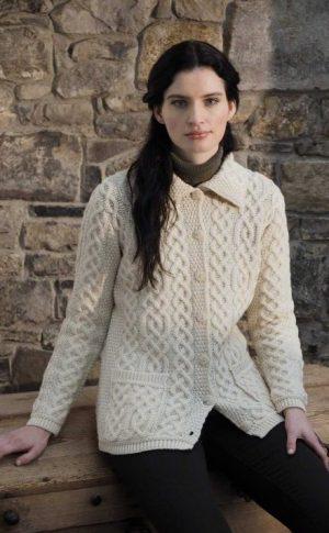 Ladies Natural Aran Buttoned Collar Cardigan