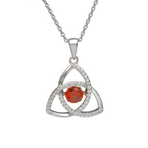January Trinity Sterling Silver Dancing Birthstone Pendant