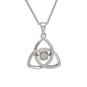 April Trinity Sterling Silver Dancing Birthstone Pendant