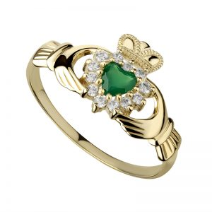Solvar Ladies 10k Gold Green Agate Claddagh Ring s2523
