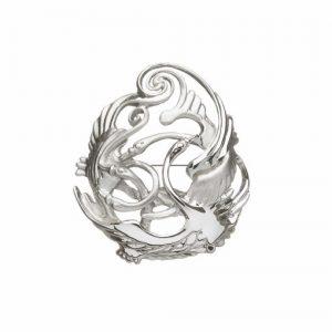 Sterling silver Children Of Lir Pear Shaped Swans Brooch