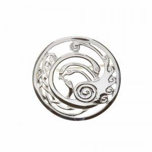 Sterling silver Children Of Lir Medium Celtic Knot Swans