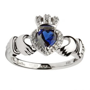 Shanore White Gold Claddagh Sapphire Ring