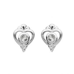Silver Heart Trinity Stud Earrings