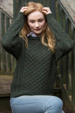 Aran Green Irish Crew Neck Sweater