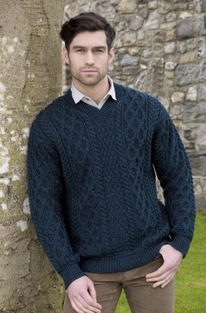Traditional Aran Knit V Neck Sweater