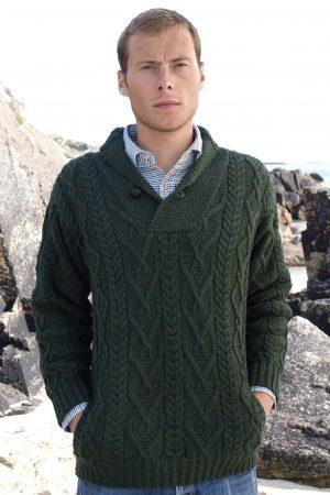 Green Shawl Collar Mans Sweater