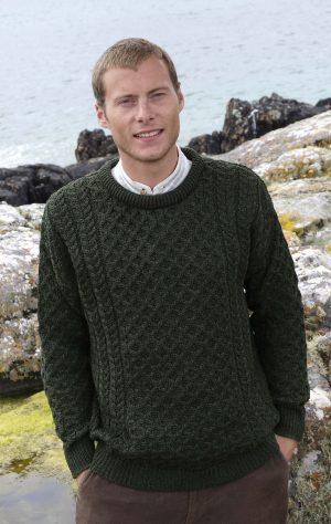 Aran Green Kildare Merino Crew Neck Sweater