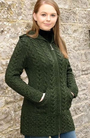 Ladies Hooded Green Aran Coat Celtic Knot Zipper