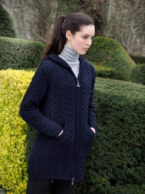 Navy Galway Cardigan With Celtic Knot Zipper