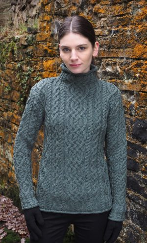 Aran Green Super Soft Merino Funnel Neck Sweater