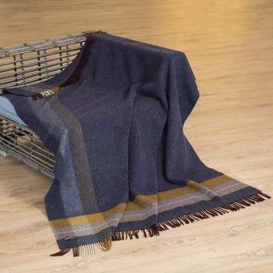 John Hanly Navy Cashmere Irish Blanket Throw