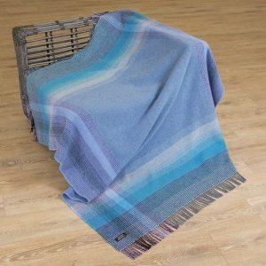John Hanly Blue Purple Cashmere Blanket 1415