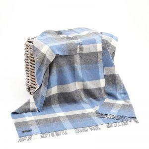 Grey Blue Merino Cashmere Wool Throw Blanket John Hanly