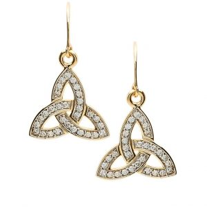 10K Gold Pave Set Trinity Knot Earrings