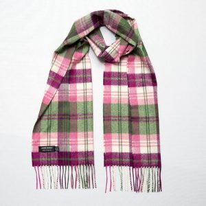 John Hanly Green Pink Maroon Plaid Scarf
