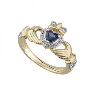 Solvar 14K Sapphire & Diamond Claddagh Ring S21093