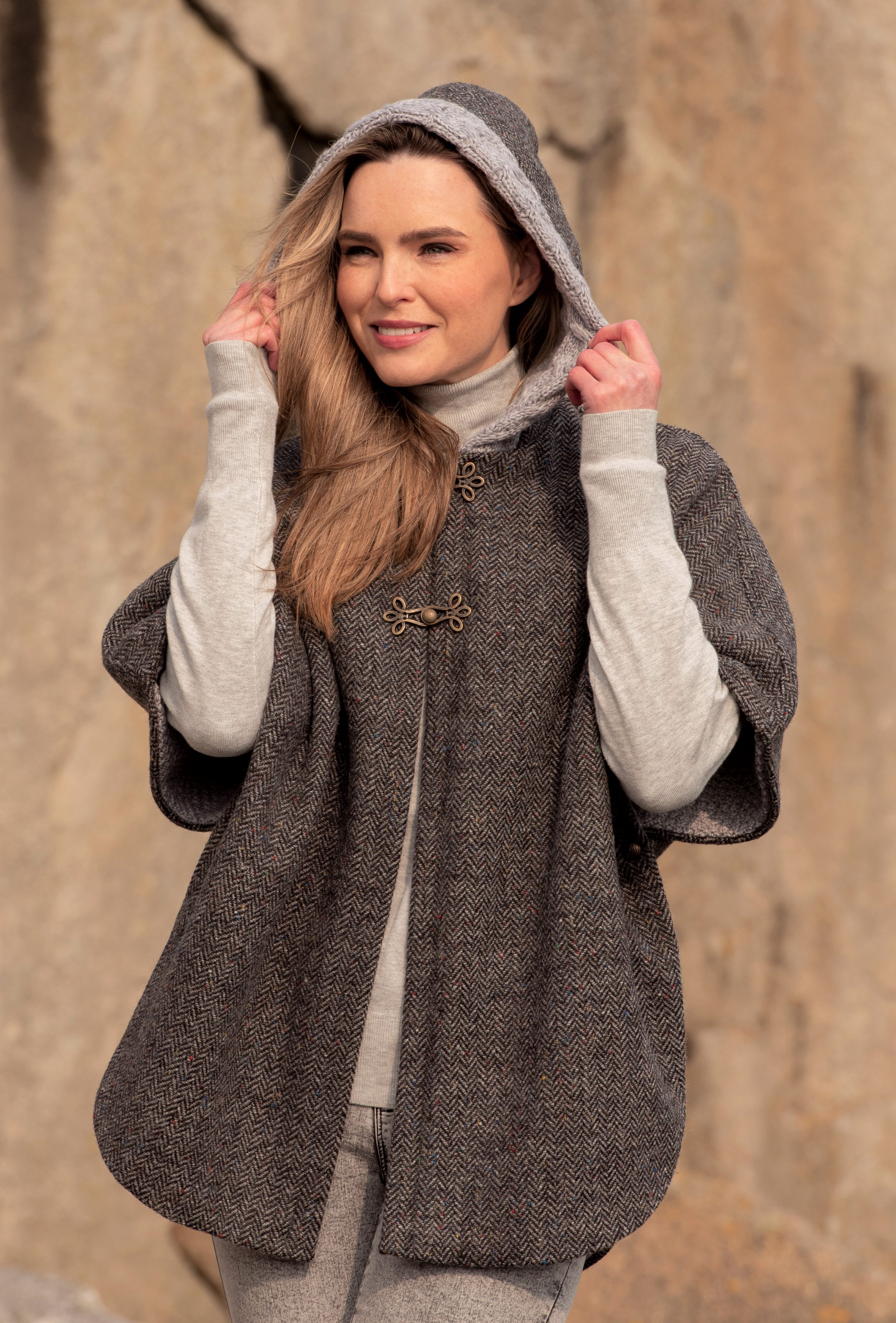Hooded Tweed Cape With Aran Lining Skellig Gift Store