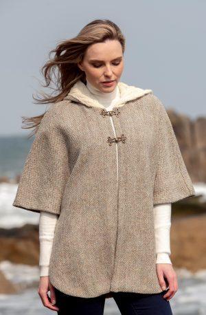 Ladies Tweed Herringbone Cape With Aran Collar