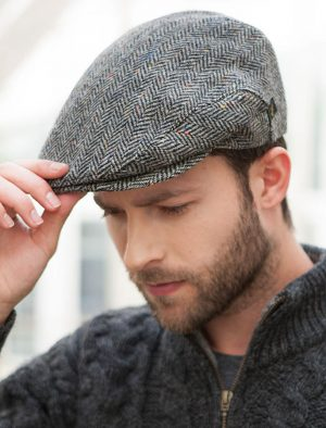 Mucros Grey Trinity Tweed Flat Cap