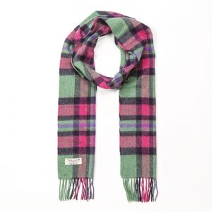 John Hanly Mint Green Pink Check Scarf