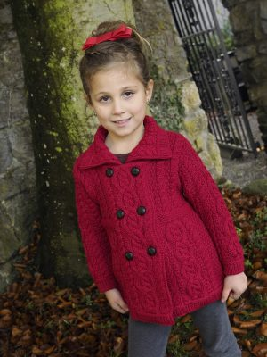 Girls Aran Red Double Breasted Coat