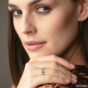 Solvar 14K Emerald & Diamond Claddagh Ring