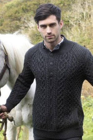 Traditional Aran Button Neck Sweater