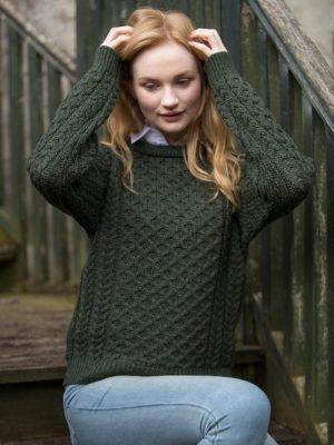 Aran Kildare Merino Wool Unisex Green Sweater