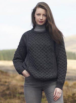 Aran Kildare Merino Wool Unisex Charcoal Sweater