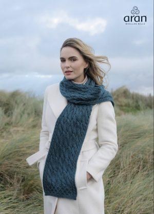 Sea Green Merino Wool Aran Scarf