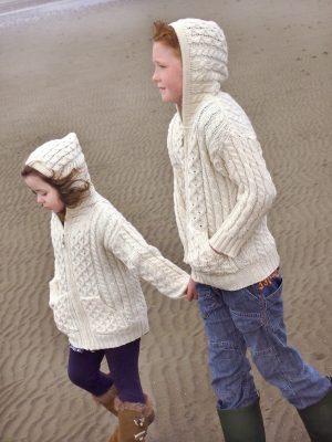Kids Hooded Merino Wool Zip Cardigan
