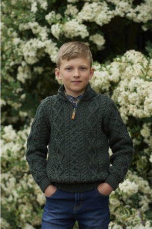 Boys Half Zip Green Aran Sweater