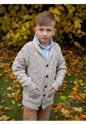 Boys Shawl Collar Aran Cardigan