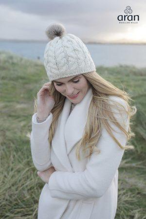 Aran Natural Wool Beanie Hat