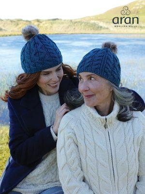 Aran Sea Green Wool Beanie Hat