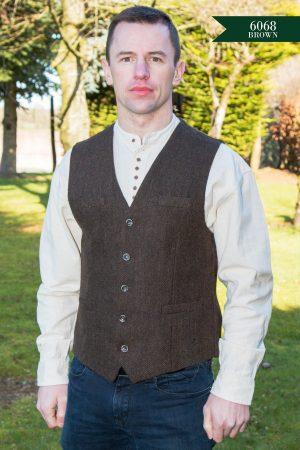 Tweed Brown Herringbone Irish Waistcoat
